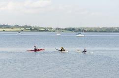 Canoa su un fiume, estate Fotografia Stock Libera da Diritti