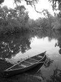 Canoa sui rami paludosi di fiume Fotografia Stock Libera da Diritti
