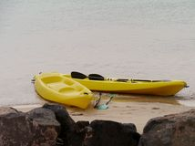 Canoas amarelas na praia Fotos de Stock Royalty Free