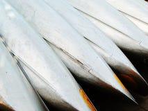 Canoas de aluminio listas para el alquiler Foto de archivo libre de regalías