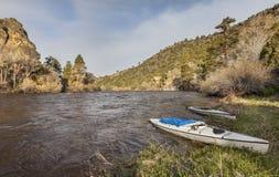 Canoas en el río North Platte Imagen de archivo libre de regalías