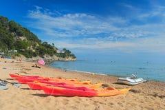 Canoas na praia Imagens de Stock
