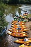 Canoas no rio Imagem de Stock Royalty Free