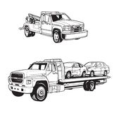 Vector illustrations of different tow trucks royalty free illustration