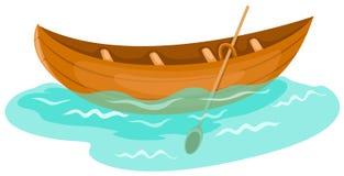 Canoe. Illustration of isolated a wooden canoe on white background Stock Photo
