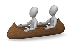 Canoe. 3d render of cartoon character with indian canoe Stock Photos