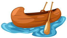 Canoe. Illustration of isolated a wooden canoe on white background Royalty Free Stock Images