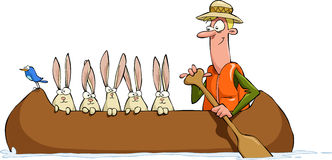 In the canoe. A man with a hare in a canoe, vector Royalty Free Stock Photo