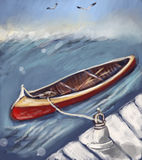 Canoe. Painting of cute looking canoe in the open water, with beautiful blue skies Royalty Free Stock Photos