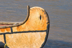 Canoe. Prow detail of a handmade canoe on river Stock Photography