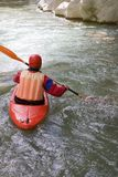 Canoe. Driver on the river in the canyon of Acheron Royalty Free Stock Photography