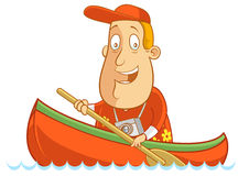 Canoe. Abe The Tourist - Paddling in his canoe Royalty Free Stock Images