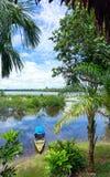 Canoe in Amazon Rainforest Stock Images
