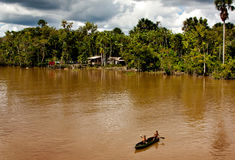 A canoe in the Amazon river, Brazil. The Amazon river, in South America, is the longest in length in the world and by discharge of water. The indigenous royalty free stock photo