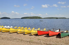 Canoe on beach Royalty Free Stock Images