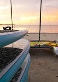 Canoe on  beach early in the morning Royalty Free Stock Photos