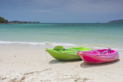 Canoe and beach sea Royalty Free Stock Images