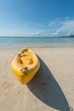 Canoe on the beach. White sand beach in sunny day Stock Image