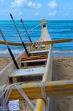 Canoe Beached on Waikiki Beach Royalty Free Stock Images