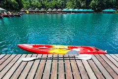 Canoe in a beautiful mountains lake forest and river natural attractions in Ratchaprapha Dam at Khao Sok National Park Royalty Free Stock Photos