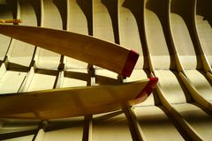 Canoe boat and paddles Stock Image