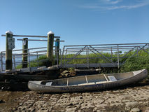 Canoe on a Boat Ramp, USA. Annual Summer Solstice Cleanup, Laurel Hill County Park, Secaucus, New Jersey, June 24th 2017: A Hackensack Riverkeeper canoe near a Stock Photos