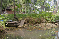 Canoe boats on backwaters of Kerala Royalty Free Stock Photography