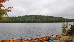 Canoe on Boundary Waters Lake stock photo