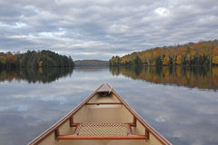 Canoe Bow on an Autumn Lake Royalty Free Stock Photo