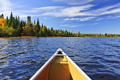 Canoe bow on lake