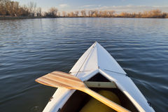 Canoe bow and paddle Royalty Free Stock Photos