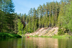 Canoe calm river Stock Photography
