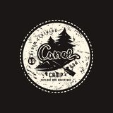 Canoe camp emblem for t-shirt. Graphic design on the theme of camping, tourism and active lifestyle. White print on black background vector illustration