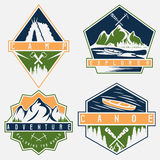 Canoe, camping and adventure vintage  labels set Stock Images