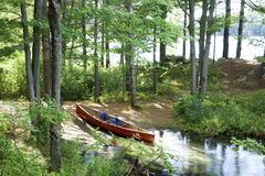 Canoe camping site in Frontenac Park, Ontario Canada royalty free stock photography