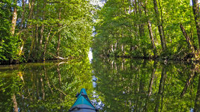 Canoe on canal Royalty Free Stock Images