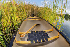 Canoe and cattails Stock Photos