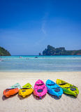 Canoe2. Colorfull boat on the beach in sunny day Stock Photography