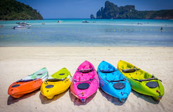Canoe3. Colorfull boat on the beach in sunny day Stock Images