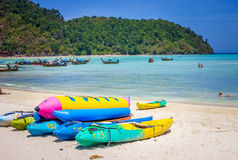 Canoe. Colorfull boat on the beach in sunny day Stock Images