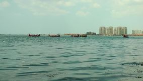 Canoe competition in Sea. Video stock footage