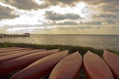Canoe di tramonto Fotografia Stock Libera da Diritti