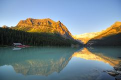 Canoe Dock at Lake Louise. Glacier reflection on Lake Louise in the early morning light Stock Photography