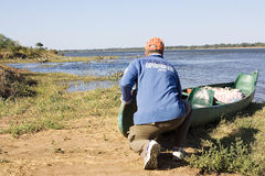 Canoe expedition on the Zambezi river Stock Images