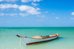 Canoe floating on calm water Stock Image