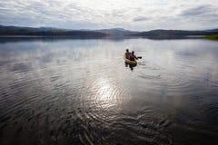 Canoe Girl Boy Water Fish Dam Stock Photo
