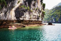 Canoe in Ha Long Bay Vietnam. Canoe in Ha Long Bay, Vietnam royalty free stock photo