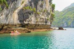 Canoe in Ha Long Bay Vietnam Asia. Canoe in Ha Long Bay, Vietnam, Asia royalty free stock photo