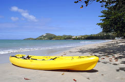 Canoe on Halcyon Beach in St Lucia Stock Images