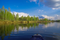 Canoe hiking. Down the river Royalty Free Stock Image